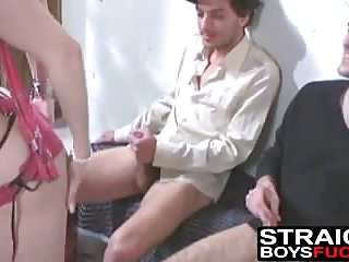 Amateur Bisexuals Big Cock video: Two guys jack off while a cutie with natural tits strips