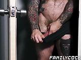 Tattooed daddy catches stepson watching porn and drills him