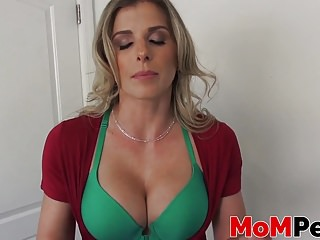 Stepmom Cory Chase sucking a big cock in POV style