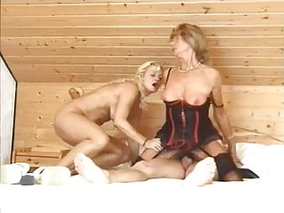 Blowjob Threesome Lesbian video: When grandma Frida and her granddaughter love the same guy