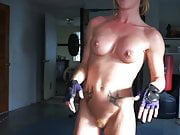 ginger girl with fit body doing some workout on we