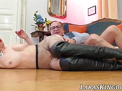 British And Big-chested Cougar Gobbles Jism After Homemade Pounding