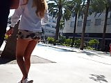 Candid voyeur blonde in see thru skirt hot legs ass