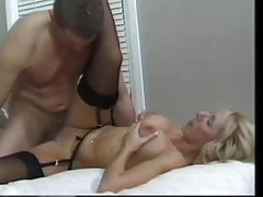 Cute British blonde MILF in stockings wants him