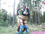 German milf natural tits outdoor fuck in standing behind