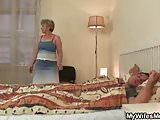daughter finds  old mother riding dick