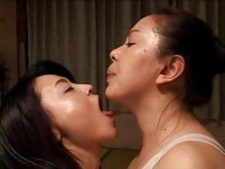 Lesbians Asian Japanese video: Misa Yui Sensually Tongue Kissing Another MILF