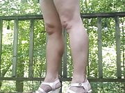 Crossdresser Outdoors on Deck in Pink Wedges
