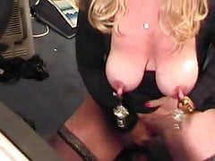 Watch pervert granny with huge clit having fun at PC