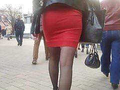 Hot ass in red skirt