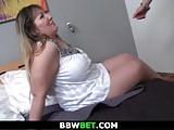 Big tits plumper rides hard man meat