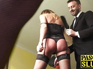 Bdsm Spanking Small Tits video: Gorgeous sub with glasses spanked before rough anal sex