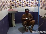 Curvy Indian wife showers and films for private video