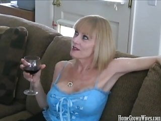 Matures Amateur Handjobs video: Mature blonde amateur takes on two cocks