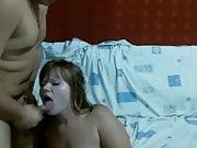 Chubby girl fucks and swallows cum