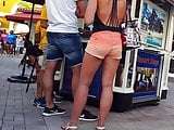 Candid voyeur hot thick blonde in shorts