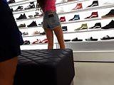 Candid voyeur teen pink shirt shopping great legs