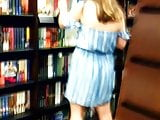 Candid Feet in Flip Flops at Bookstore Legs