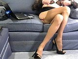 Chrissie stockings and nipple play