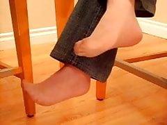 Under table nylon feet grope