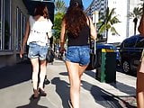 Candid voyeur thick legs and ass in jean shorts