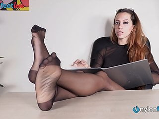 Softcore Foot Fetish High Heels video: Secretary in pantyhose and louboutin's foot teasing