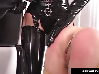 Big Boobs Strapon Latex video: Latex Lesbians RubberDoll & Rubber Painted Lady StrapOn Fuck