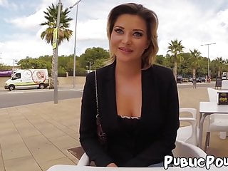 Babe Anna Polina sucking big cock before public anal