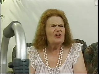 German Amateur Blowjob video: Gaby 87 y.o. granny makes her servants fuck her in all holes