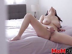 Serious stepmom secretly filmed while playing with her pussy