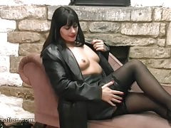 Kinky babes explore feel of leather on big boobs hot bodies