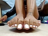 White Painted Toes Up Close