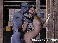 Kurzhaariges 3D-Babe von einem Zombie rau gefickt