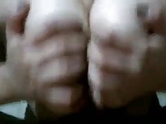 GF Crushes the Cum out of his cock with her Tits