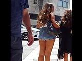 Candid voyeur beautiful thick ass teen booty shorts
