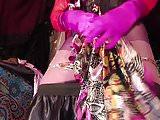 Satin Tgirl Mistress cumming on satin miniskirt