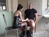 Beautiful domina gags and cuffs sub for hard jerk off