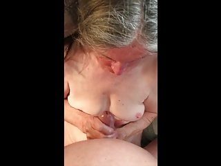 Grandma loves cum on her chest