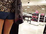 Candid voyeur teen shopping for lingerie with Mom