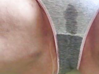Voyeur Pissing video: Close-up peeing in grey panties 3
