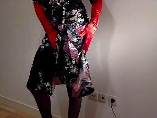 Huge satin bulge and high heels
