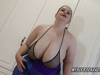 Huge tits BBW SweetHeart Mia in sexy dress striptease and ma