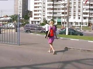 Softcore Foot Fetish Blonde video: Beautiful blonde walking barefoot in town.