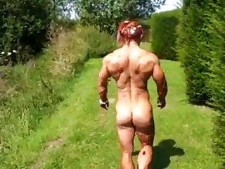 Femdom Milf Redhead video: Garden Muscle