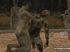 3D Zombie viene scopato duro in un cimitero