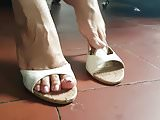 Sexy feet Pink Toes White Slides Qupid Mules