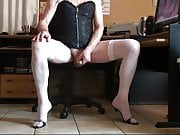 low fishnet white, corset, high heels and cum
