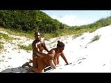 Fucking a big titted thick blk woman behind the sand dunes