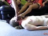 Femdoms in nylon make sissy worship heels feet leg trampling