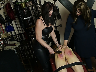 Milf Slave European video: Anton is punished by his Mistress and her dominant friend